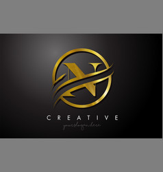 N golden letter logo design with circle swoosh vector