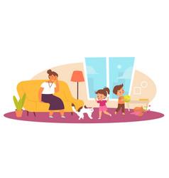 Naughty children in living room tired mother vector