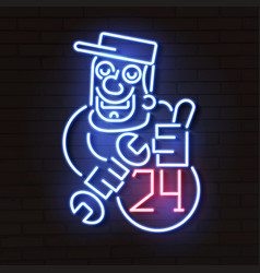 neon technician neon style auto service poster vector image