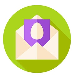 Open Envelope with Easter Egg Postcard Circle Icon vector