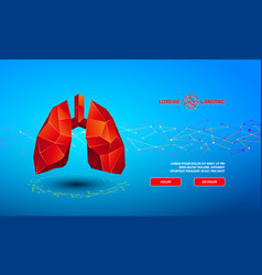 polygonal banner with a red low poly lungs vector image
