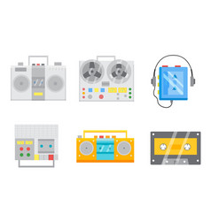 retro tape recorders icon set vector image