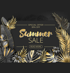 Sale summer sale tropical leaves frame on striped vector
