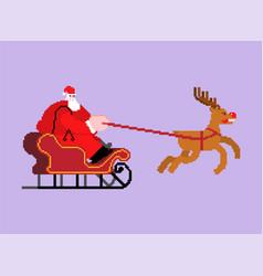 Santa in sleigh pixel art 8 bit christmas and new vector