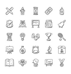 School and education doodle icons set vector