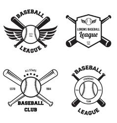 Set baseball sport badge logo design template vector