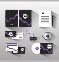 Set business company stationary template with vector