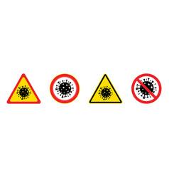 set four coronavirus warning signs vector image