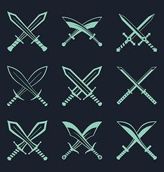 set heraldic swords and sabres for heraldry vector image