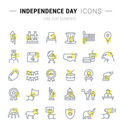 set line icons independence day vector image