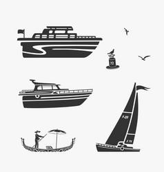 set of boat symbols vector image