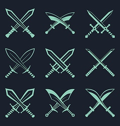 Set of heraldic swords and sabres for heraldry vector