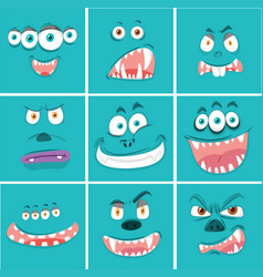 Set of monster facial expression vector