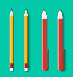 Set of pencils and handles in flat style vector image
