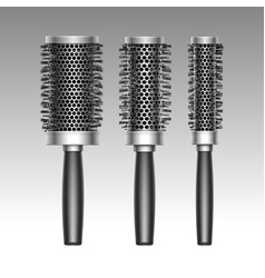 set of plastic curling radial hair brush vector image