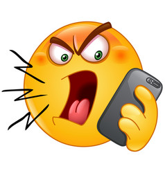 Shouting on phone emoticon vector
