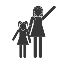 Silhouette mother and daughter relation family vector