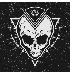Skull is an alien with geometric elements vector image