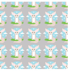Small cute fennec with big ears seamless pattern vector