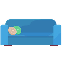 Soft couch with colorful pillows vector