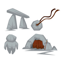 stone age attributes cave and amulet arch and toy vector image
