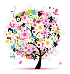 Summer floral tree for your design vector
