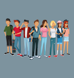 Teens group fashion student modern style vector