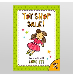 Toy shop sale flyer design with cute doll in pink vector image