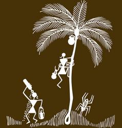 traditional warli painting from north maharashtra vector image