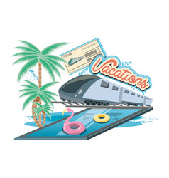 Vacations place with pool scene icon vector