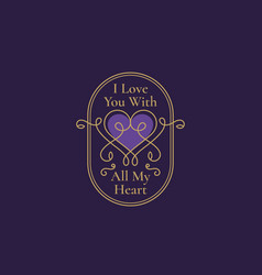 valentines day abstract curly heart label with vector image