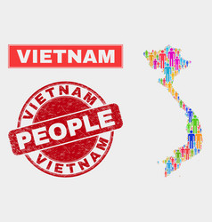 Vietnam map population demographics and corroded vector