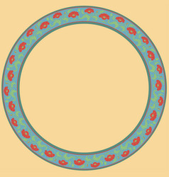 Vintage round frame with red tulips vector