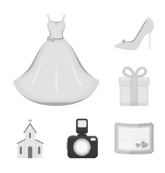 Wedding and attributes monochrome icons in set vector