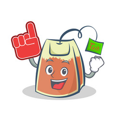 With foam finger tea bag character cartoon vector