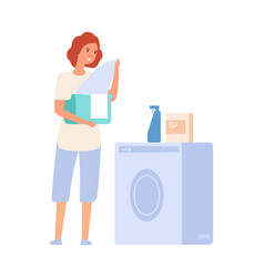 woman and washing machine laundry service girl vector image