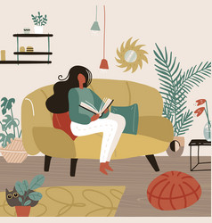 young woman sitting on sofa in her room and vector image