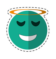 angel emoticon style cut line vector image