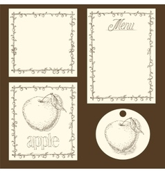 Apple Menu Pages Card and Tag Design Set vector image vector image