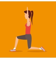 Beautiful girl fitness exercise icon vector