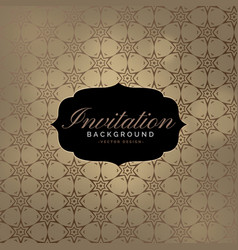 beautiful invitation background with pattern vector image vector image