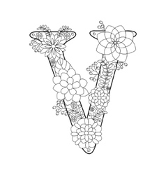 Letter V coloring book for adults vector image vector image