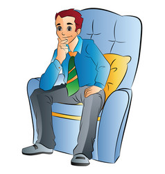 man sitting on a soft chair vector image vector image