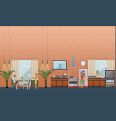 set of kitchen flat style design elements vector image vector image