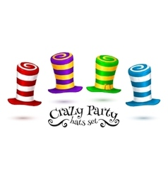 Crazy Party colorful striped carnival hats vector image