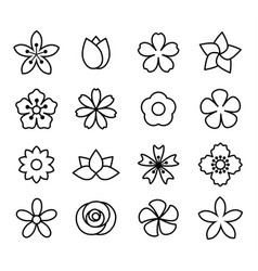 flower icons set1 vector image