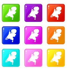 holland map icons 9 set vector image vector image