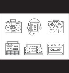 retro tape recorder linear icon vector image vector image