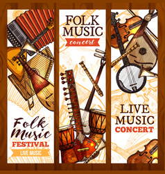 Folk music banner with ethnic musical instrument vector