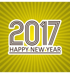 happy new year 2017 like sticker on sunny stripped vector image vector image